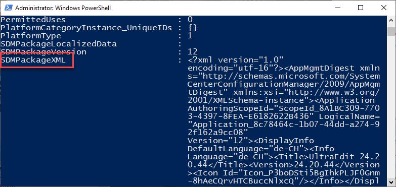 Screenshot of SDMPackageXML string