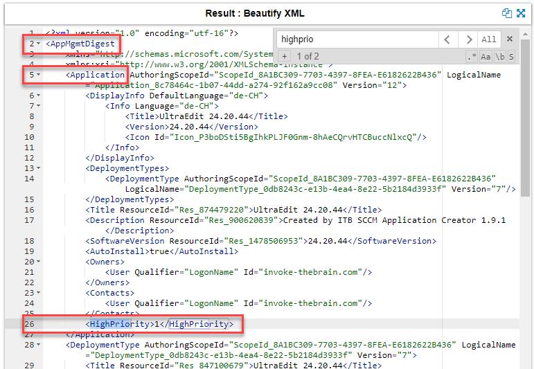 Screenshot of SDMPackageXML string beautified