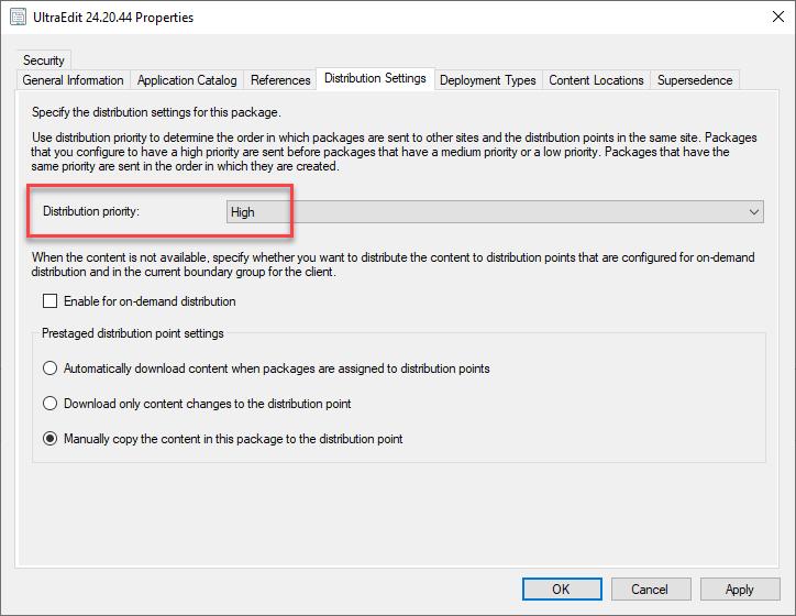 Screenshot of high priority in GUI